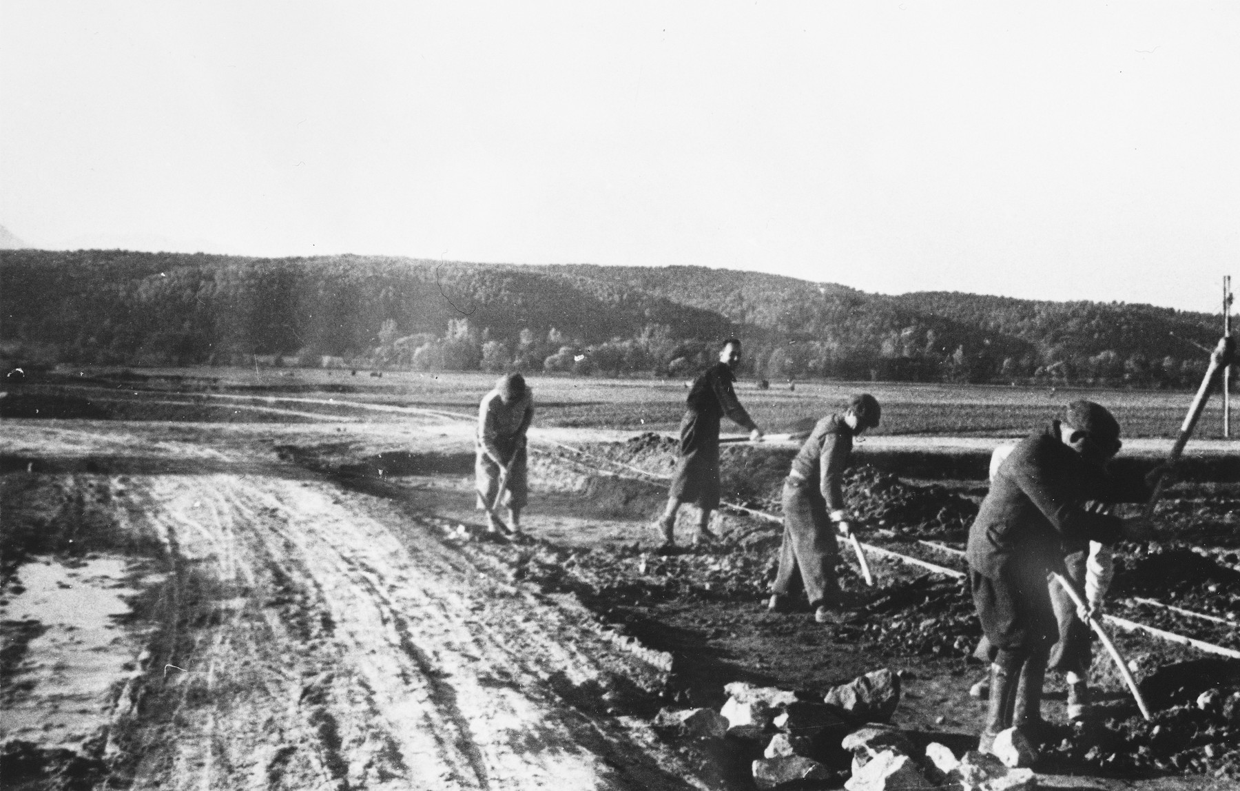 Prisoners holding pick axes and other tools, work along a roadside at a Slovak labor camp.