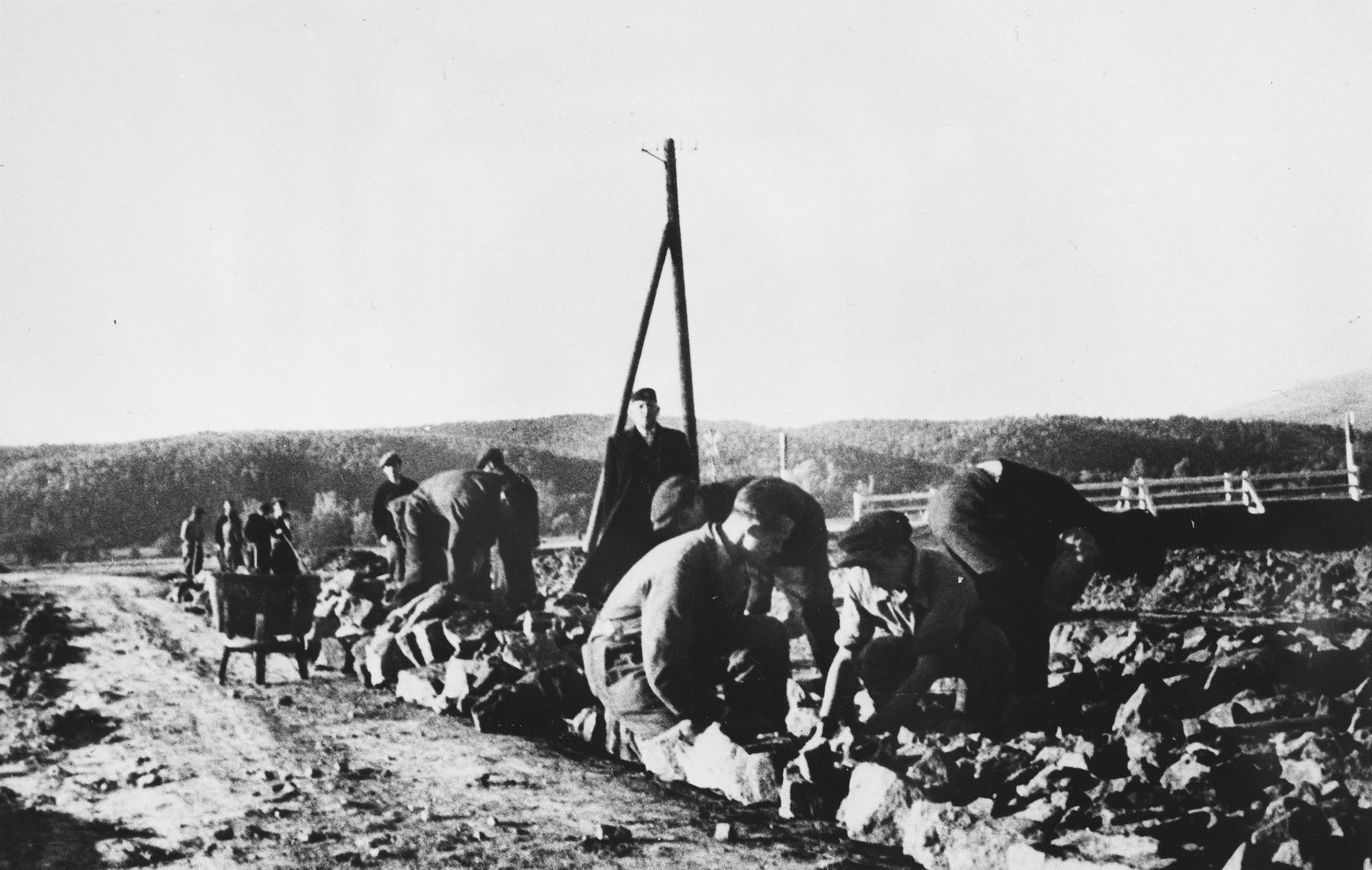 Prisoners work along a roadside at a Slovak labor camp.