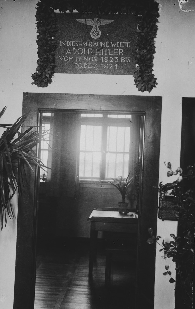 Interior view of the cell occupied by Adolf Hitler following the abortive Beer Hall Putsch, preserved as a shrine by the Nazis.