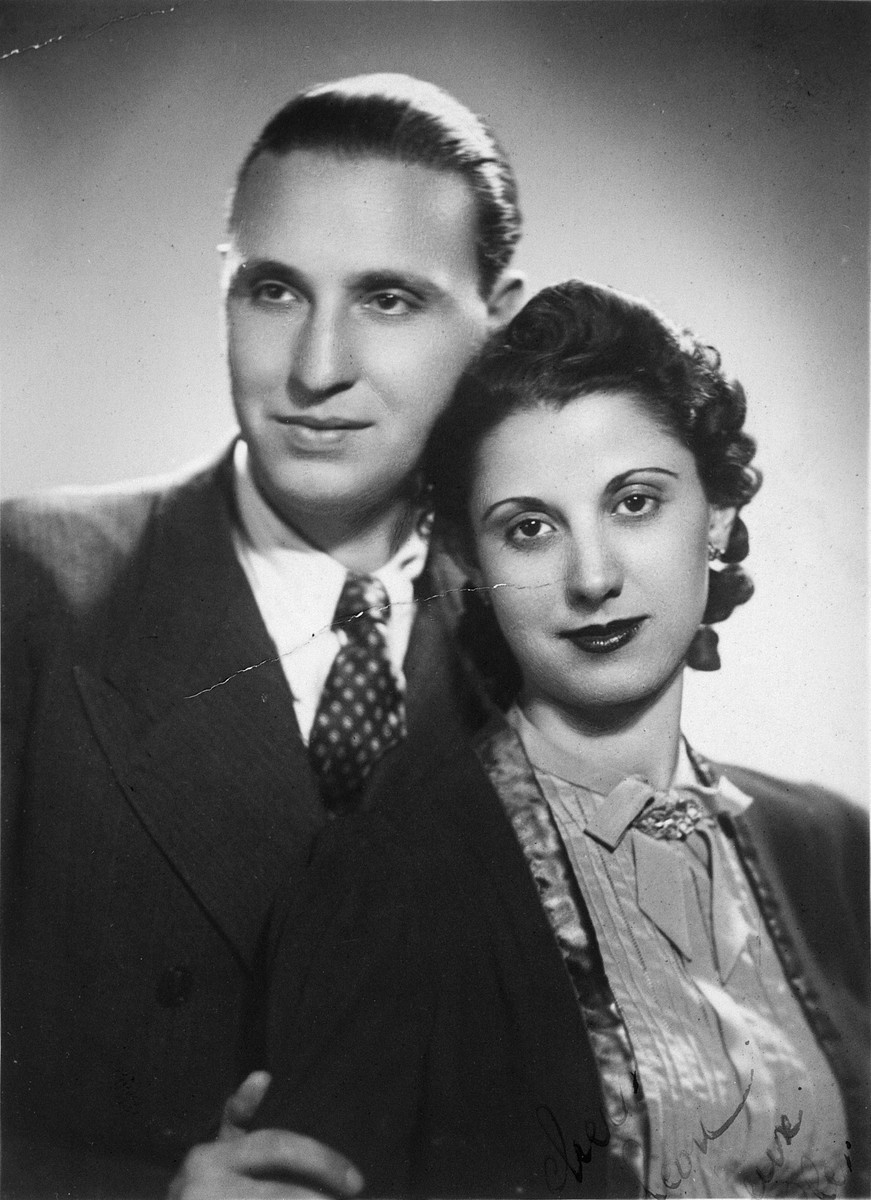Studio portrait of a Greek-Jewish couple [probably the wedding photo of Sylvia and Jacob Amar].