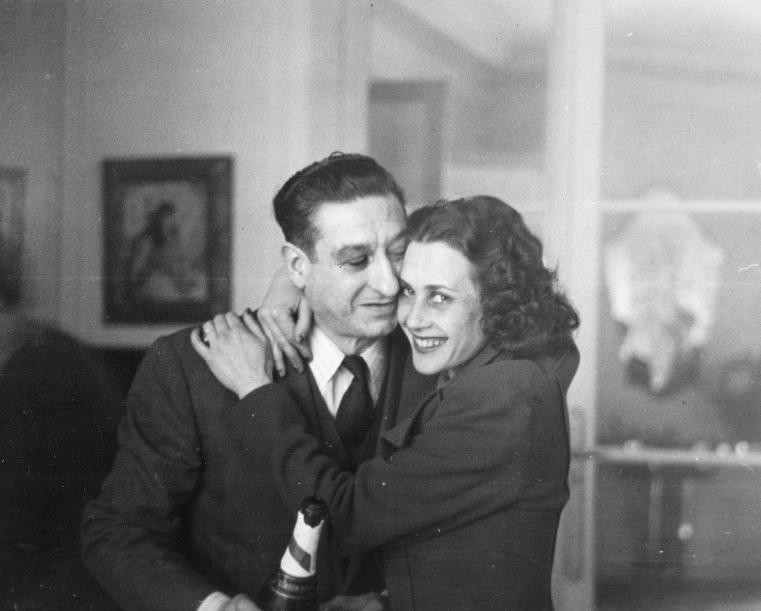 A French music hall owner poses with the Jewish dancer he is helping to hide.    Pictured are Pierre Sandrini and Sadie Rigal.  Pierre Sandrini helped save four Jewish employees of the Bal Tabarin.
