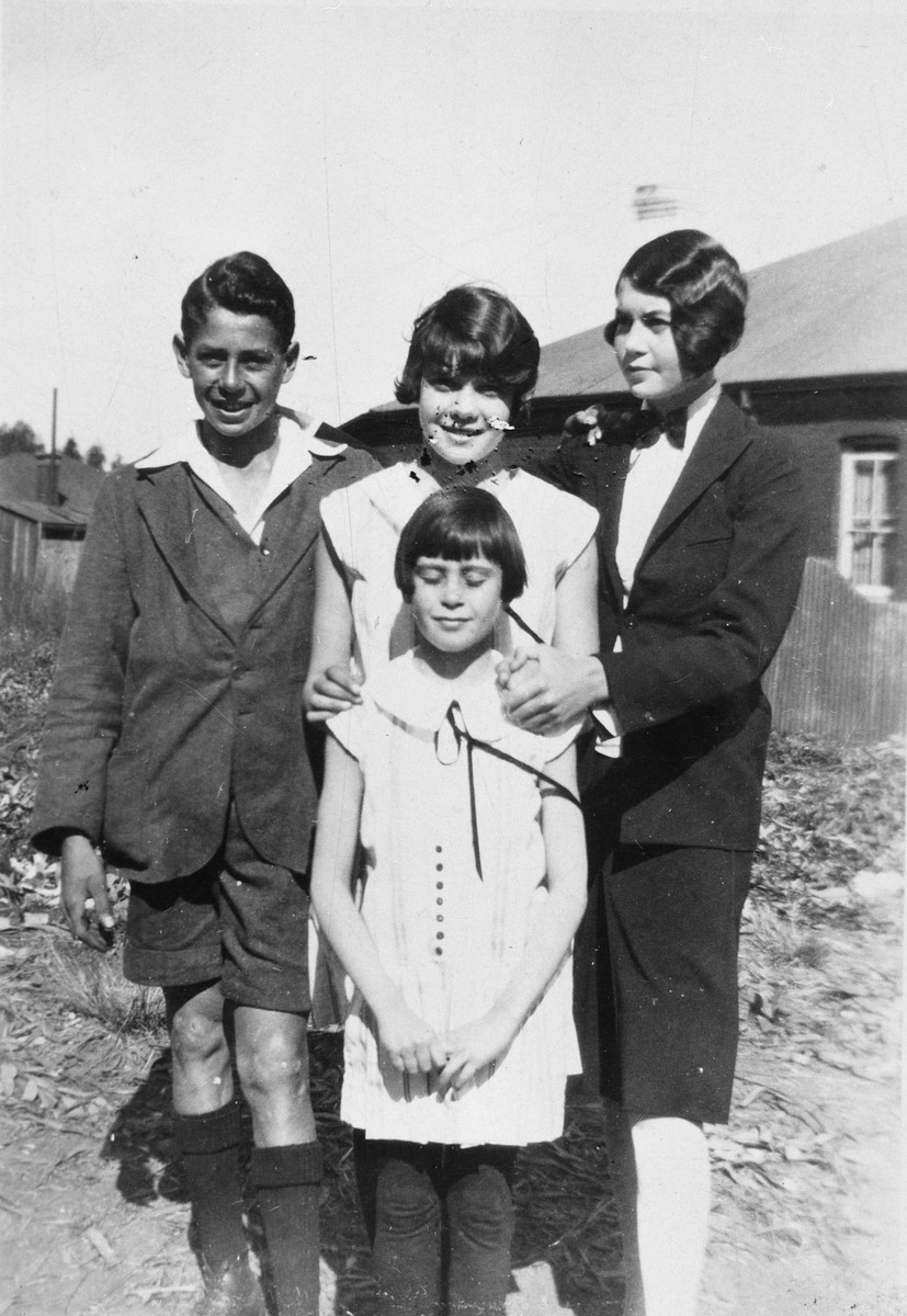 Four Jewish children pose outside their home in South Africa.  Pictured are Sadie, Wilfred, Dorothy and Irene Rigal.