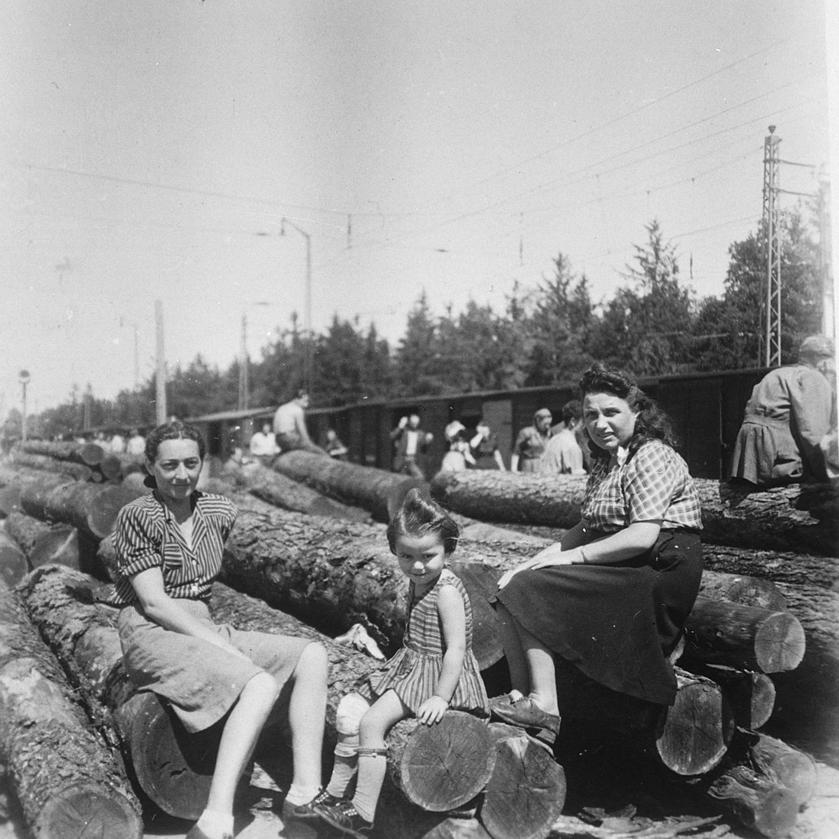 Two women and a young child sit on logs of wood in a displaced persons' camp in Selb.  Mania Ament is on the left.  Her daughter Jeanine is in the middle.