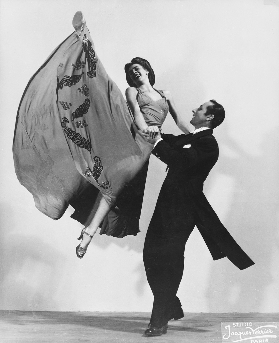 Two dancers, one of whom is a Jew in hiding, perform their act in the Parisian music hall, the Bal Tabarin.  Pictured are Frederic Apcar and Sadie Rigal.