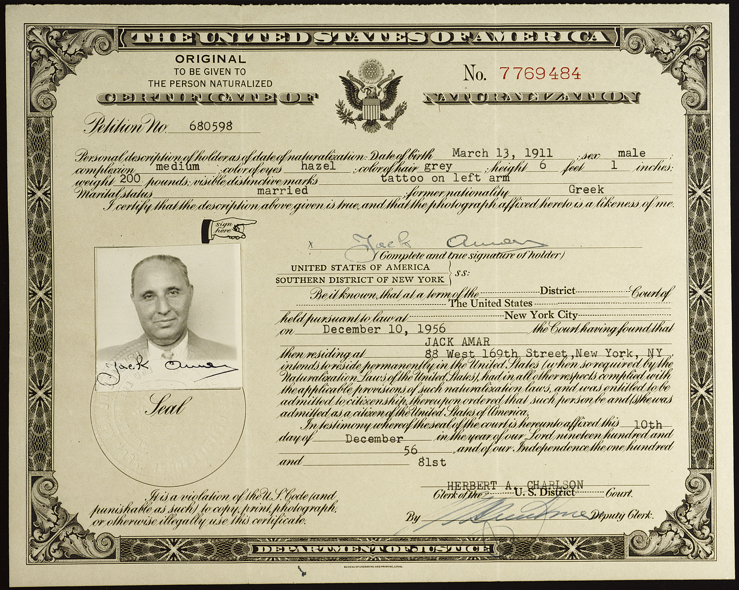 Naturalization Certificate Issued To Jack Amar A Greek Jewish