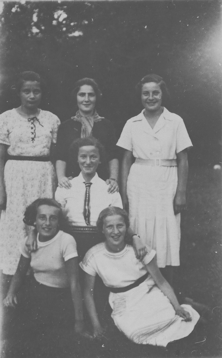 Six Jewish teenage girls pose together for a group portrait.  Pictured are Henia Wachsman  (the cousin of the donor) and her school friends.