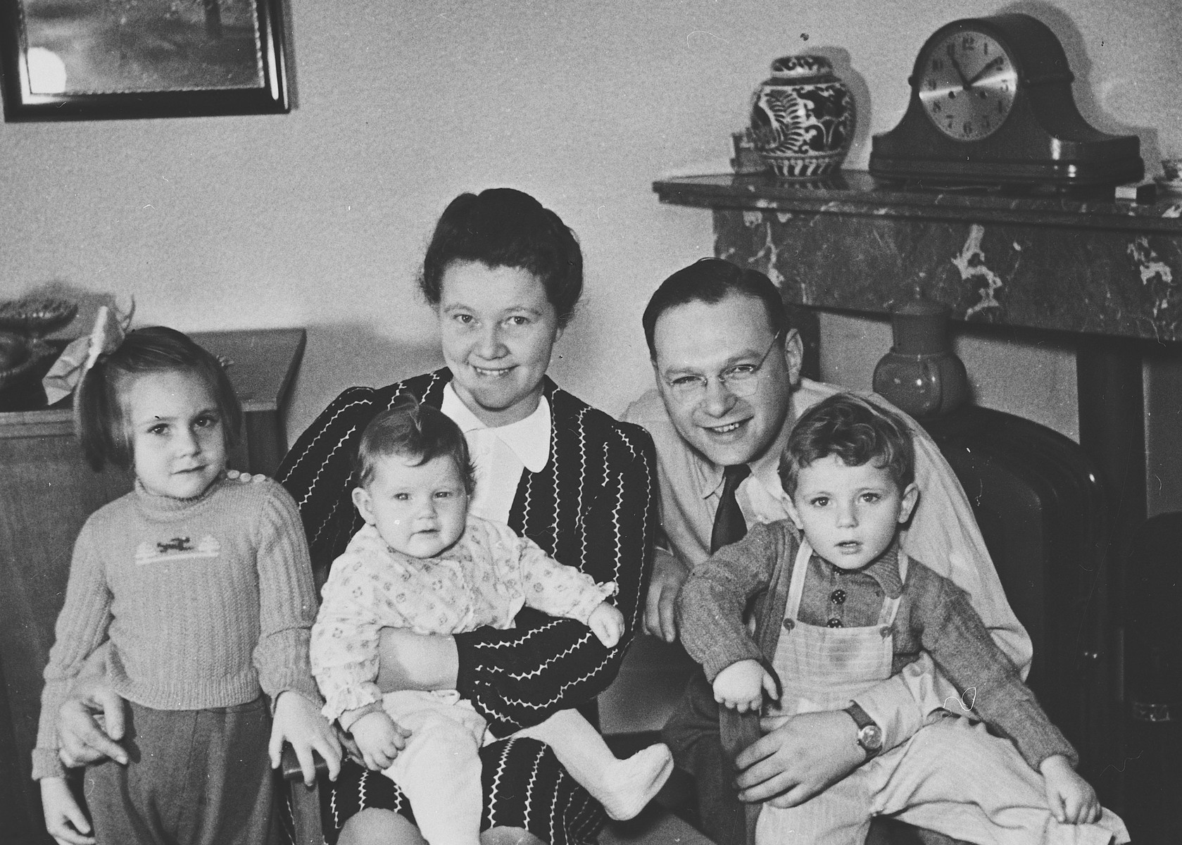 Postwar portrait of Frits and Jacoba Blom and their three children.  They hid Erich Zielenziger for over a year.