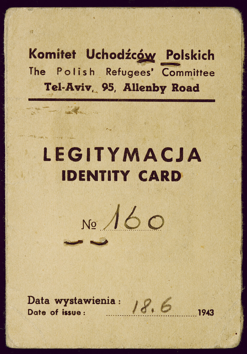 Identification card issued to Jozef Bussgang by the Polish Refugees' Committee in Tel Aviv.