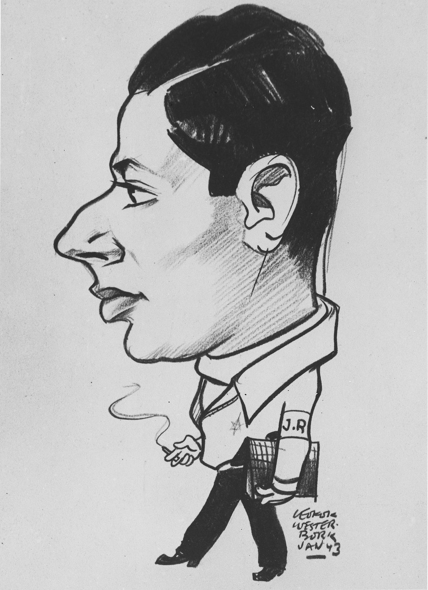 Caricature of a Jewish Council worker wearing an armband and smoking a cigarette in the Westerbork transit camp.  Pictured is Erich Zielenziger.