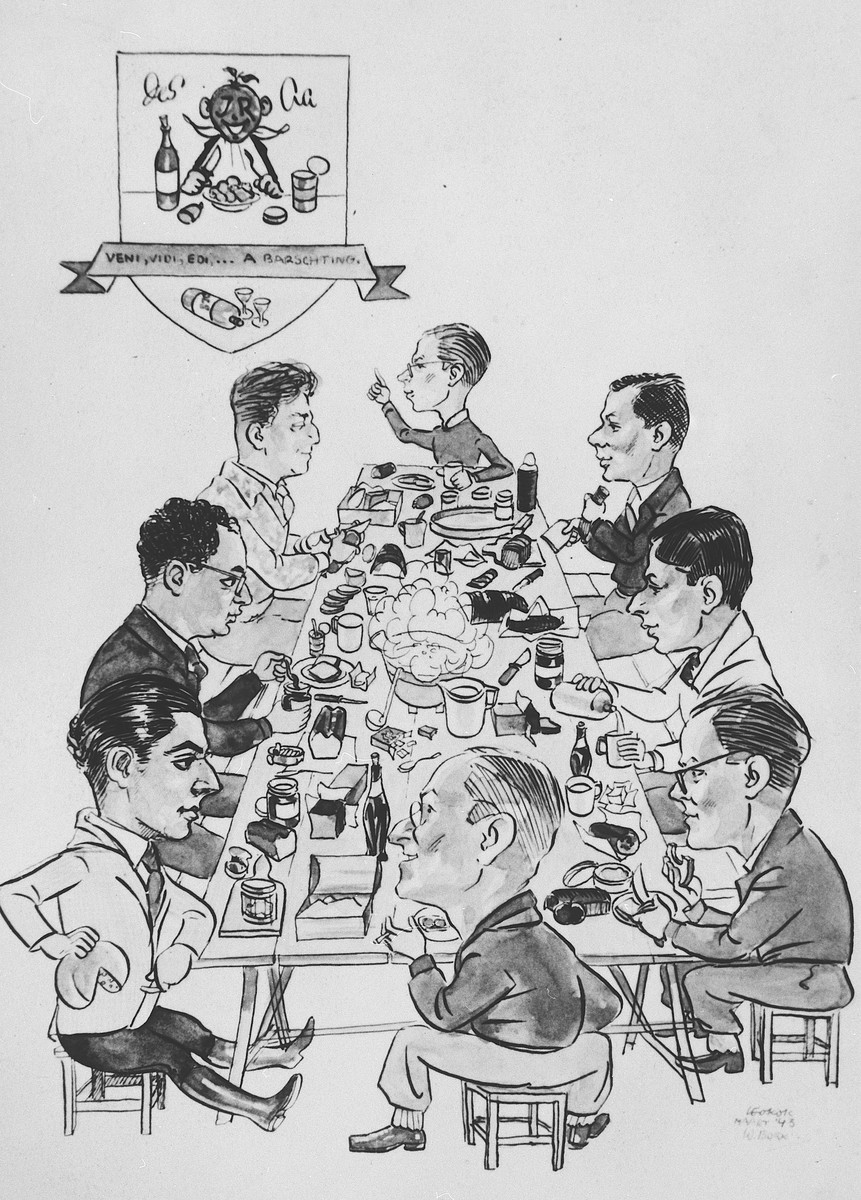 Caricature of Jewish Council workers seated around a dinner table in the Westerbork transit camp.  Among those caricatured is Erich Zielenziger (right side of the table, second from the bottom).