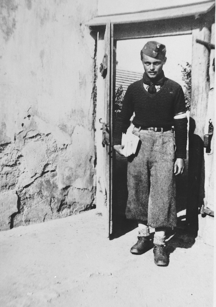 Close-up portrait of the company messenger of a Hungarian forced labor battalion.