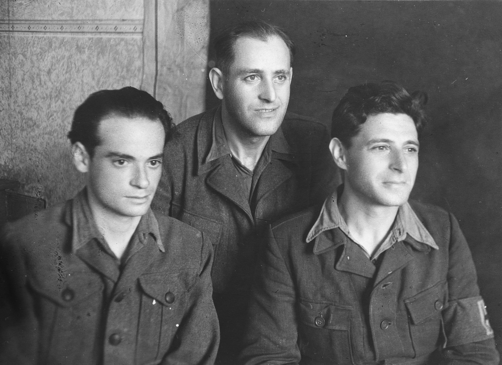 Portrait of three Hungarian-Jews captured while in a forced labor brigade and sent to a Soviet Prisoner of War camp in Gorky.  Denes Simonyi is pictured on the left.  In the center is Jozsef Kupfer, and on the right is Marton Klein.