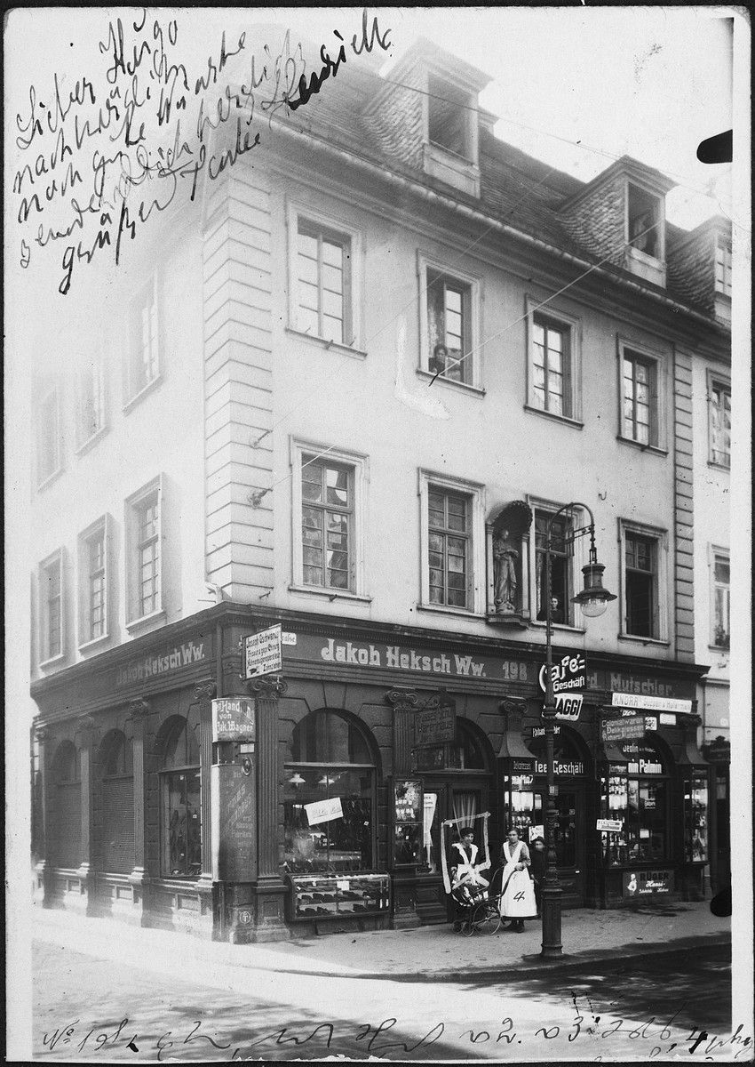 Exterior view of the store belonging to Jakob Heksch.