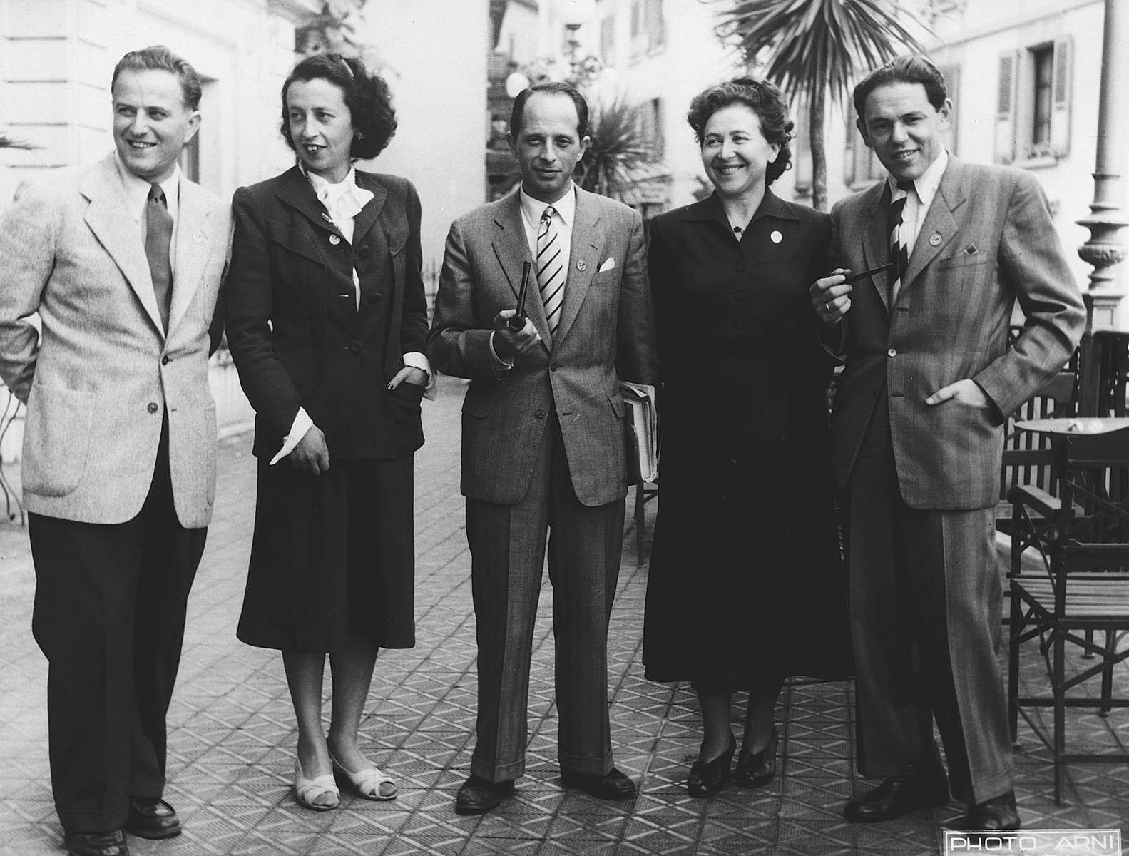 Jewish leaders attend a meeting of the World Jewish Congress in Montreux, Switzerland.   Among those pictured is Gerhart Riegner (in the middle).