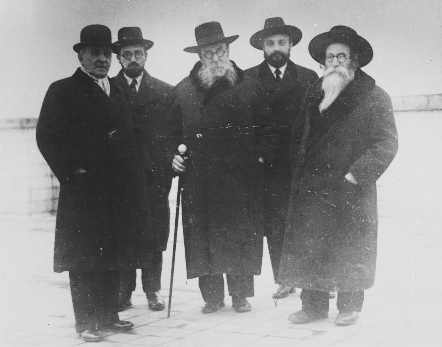 Group portrait of five Hungarian rabbis.  Pictured second from the right is Rabbi Nossen Schueck, a relative of the donor. The first person on the right is Rabbi Yonasan (Johnathan) Stieff who served as Chief Rabbi in Budapest after the war.