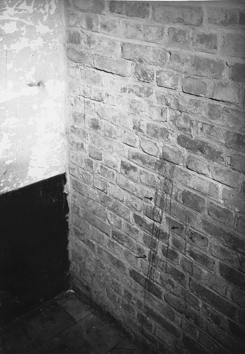 Blood stained wall in a cell in the Breendonck internment camp.