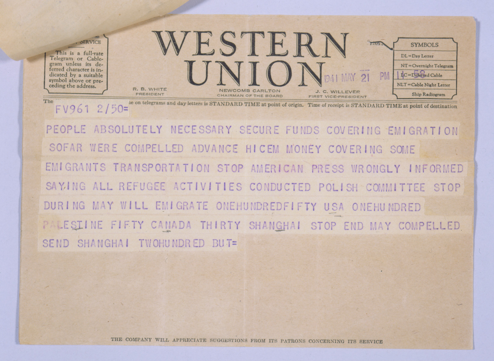 A Western Union telegram sent to Anatole Ponevejsky, the former head of the Kobe Jewish community who had recently immigrated to America, asking for his help in securing visas for refugees in Japan.