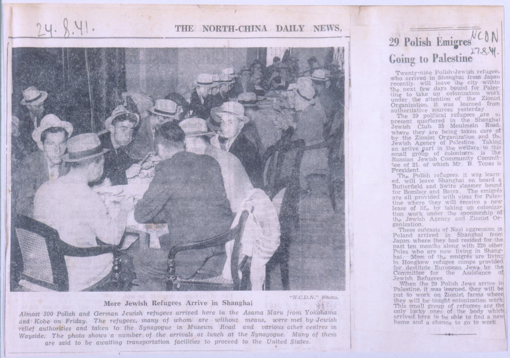 A photo from the North-China Daily News showing the arrival of Jewish refugees in Shanghai.
