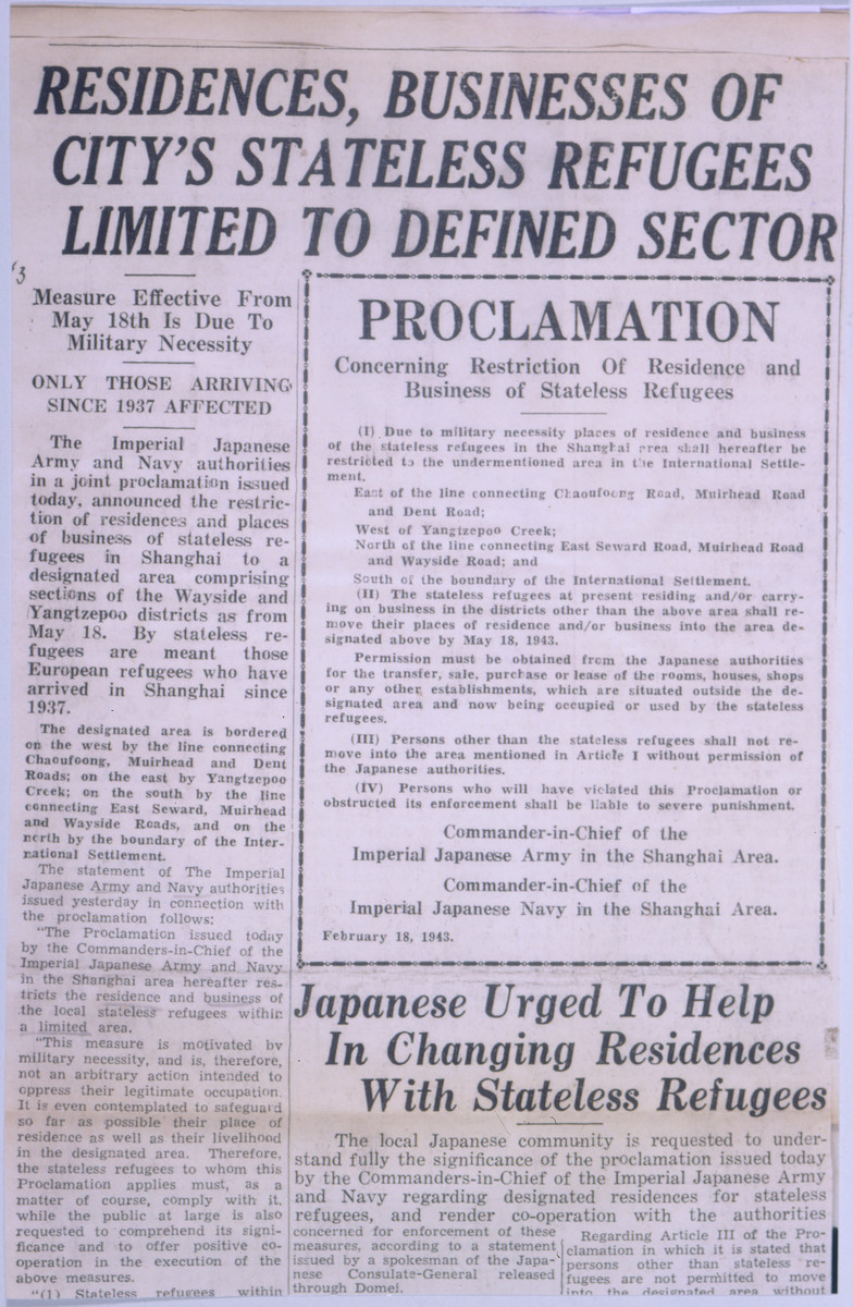 An announcement printed in the North China Daily News proclaiming the establishment of a restricted zone in Shanghai for stateless refugees.