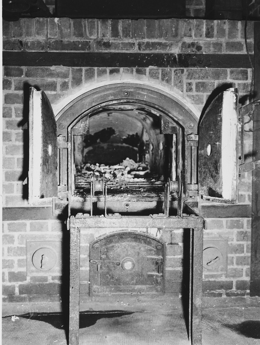 View of a cremation oven in the Dachau concentration camp.
