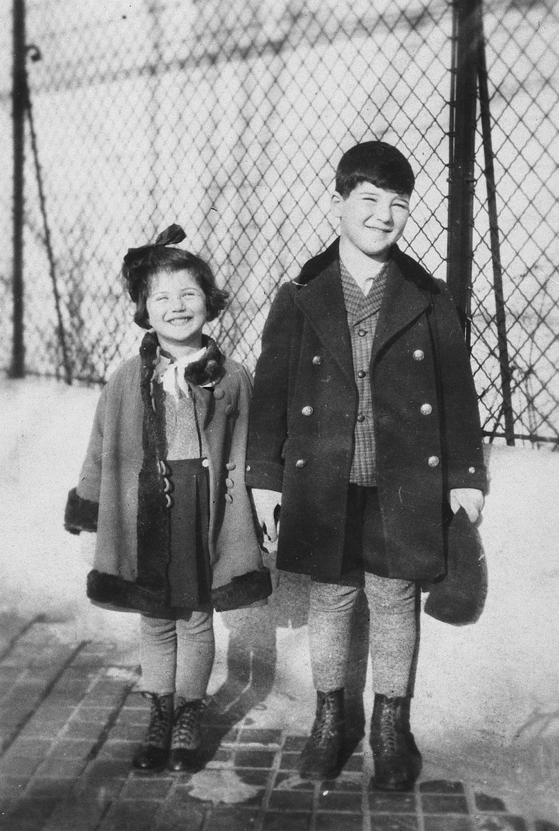 Two Austrian-Jewish siblings stand next to a chain-link fence.  Pictured from left to right are Susi and Herbert Popper.