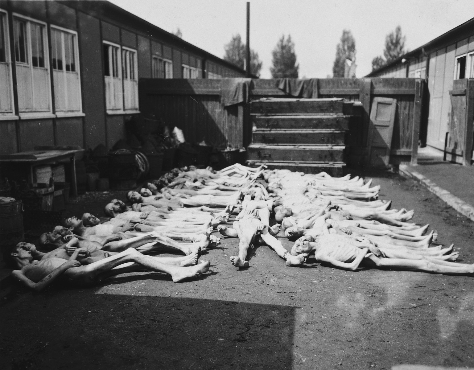 Corpses are laid out in rows prior to burial outside a barracks in the Dachau concentration camp.