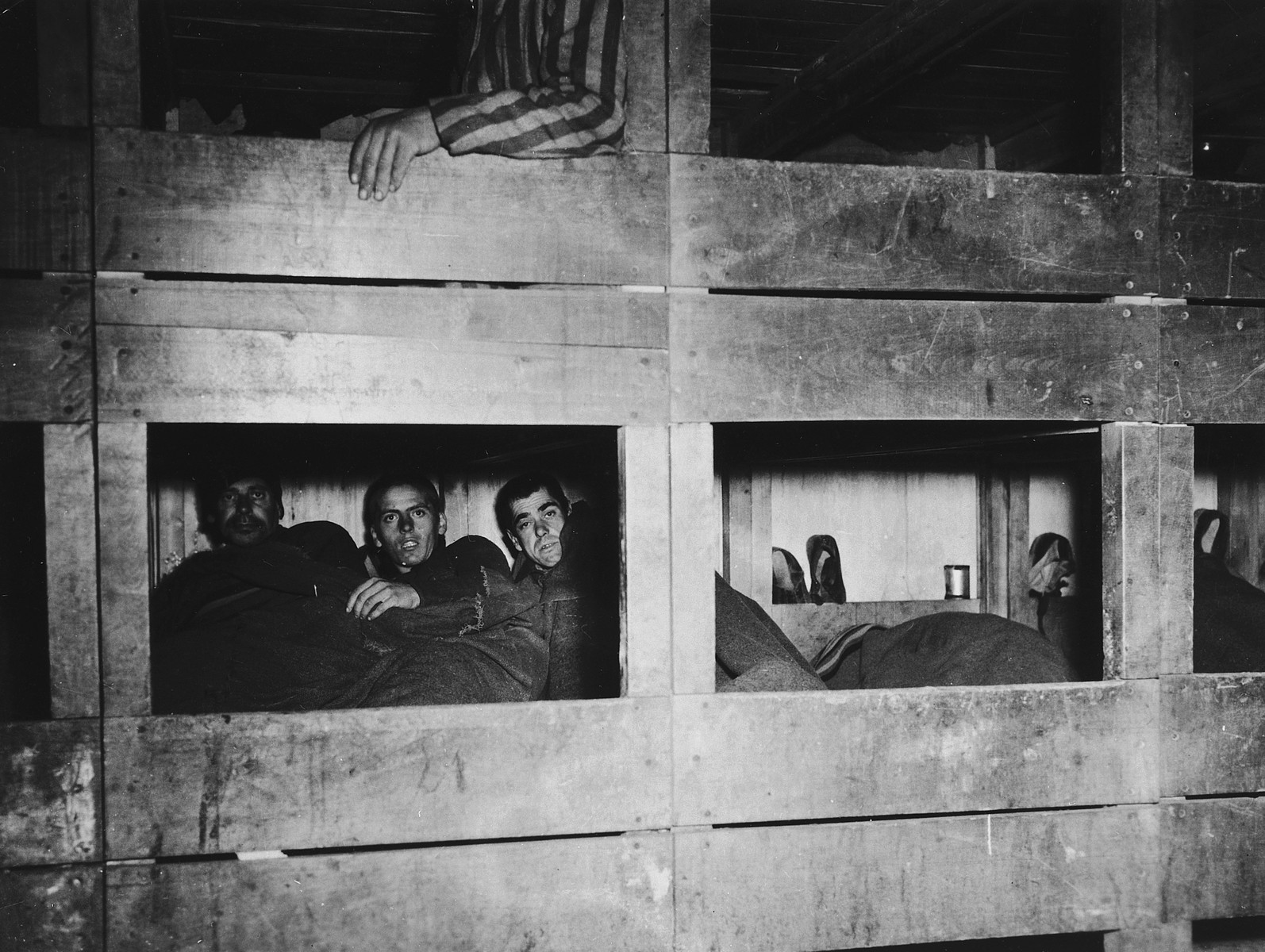 Survivors pose in their bunks in a barracks of the Dachau concentration camp.