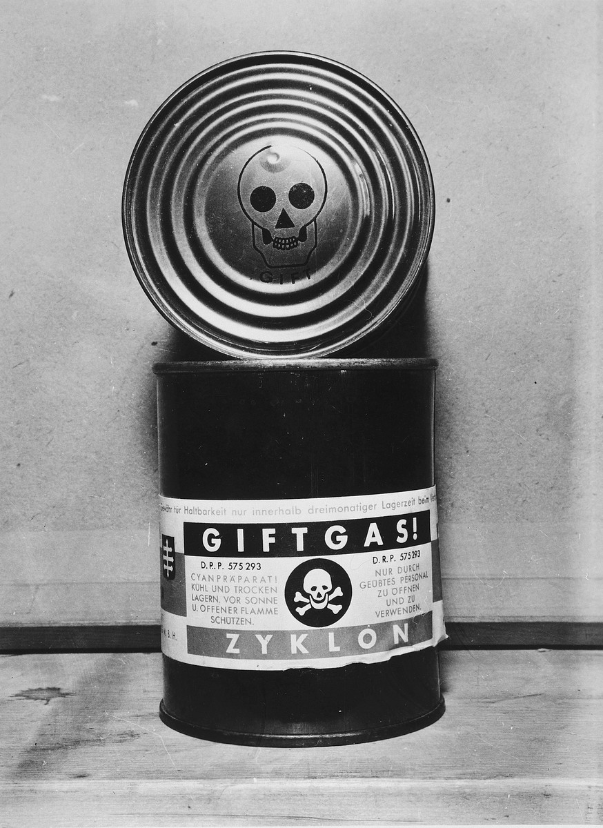 A canister of Zyklon B found in the Dachau concentration camp and clearly marked as poison with a skull and crossbones.