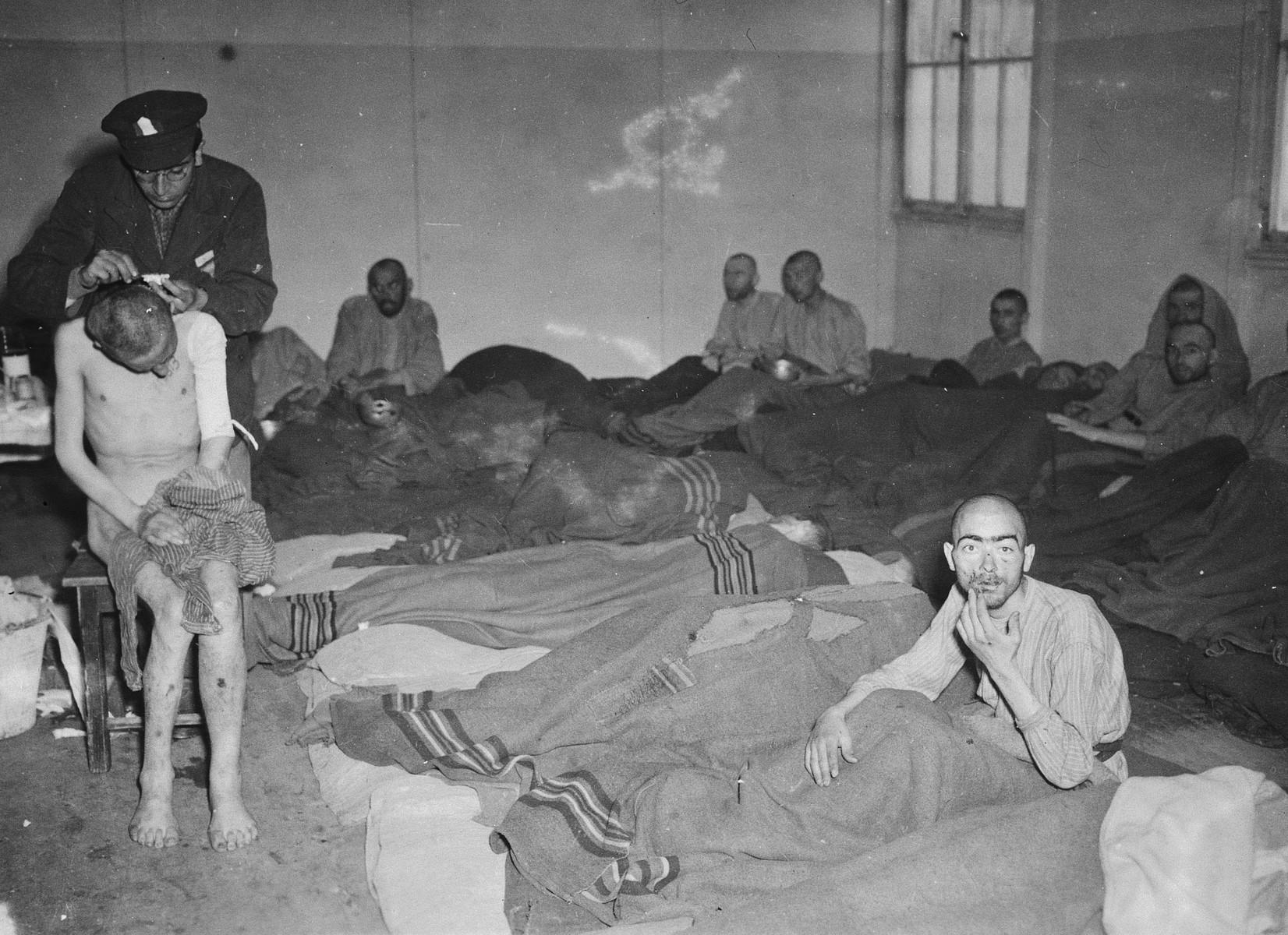 An American serviceman delouses a survivor in the Dachau concentration camp.