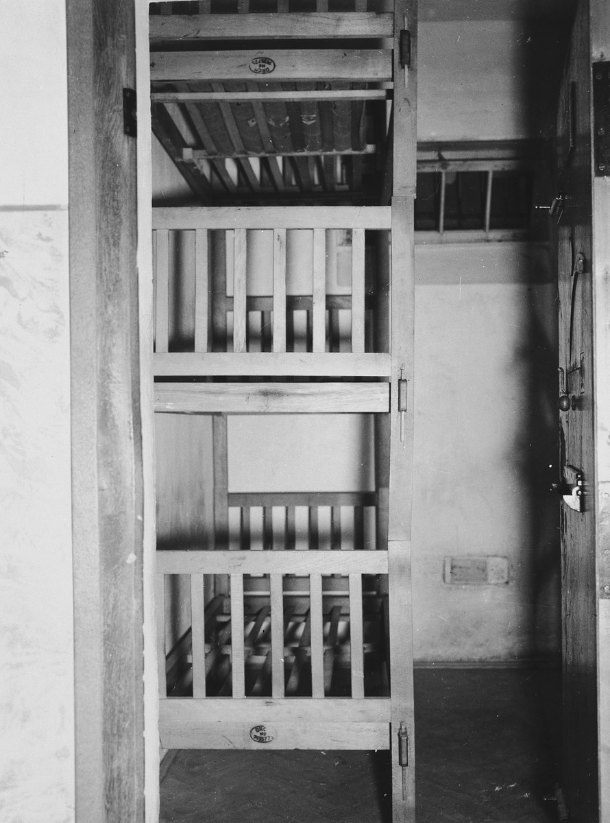 Interior view of an individual cell in the prison in the Dachau concentration camp.