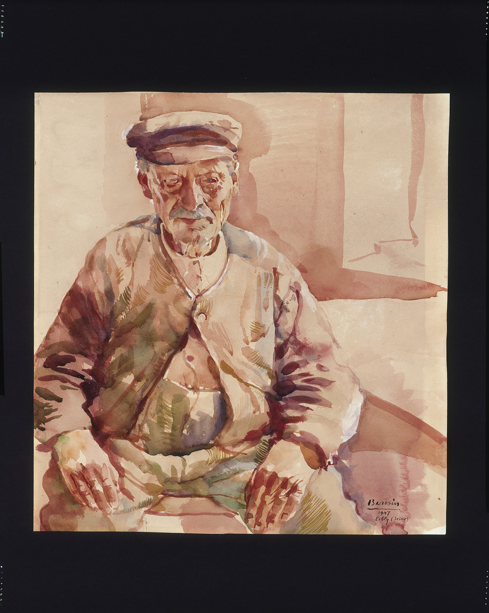 Painting of an elderly man by Jacob Barosin.