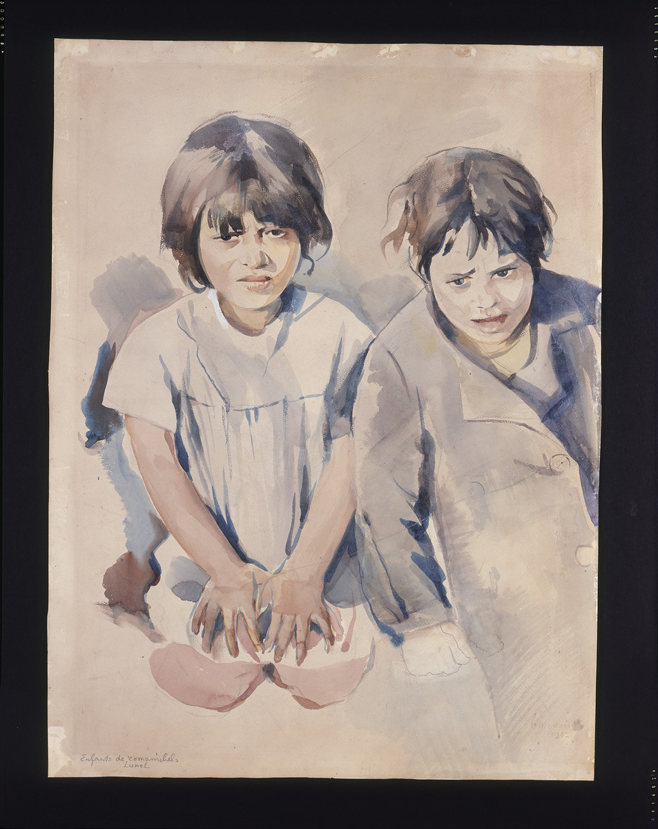Painting of two children by Jacob Barosin.