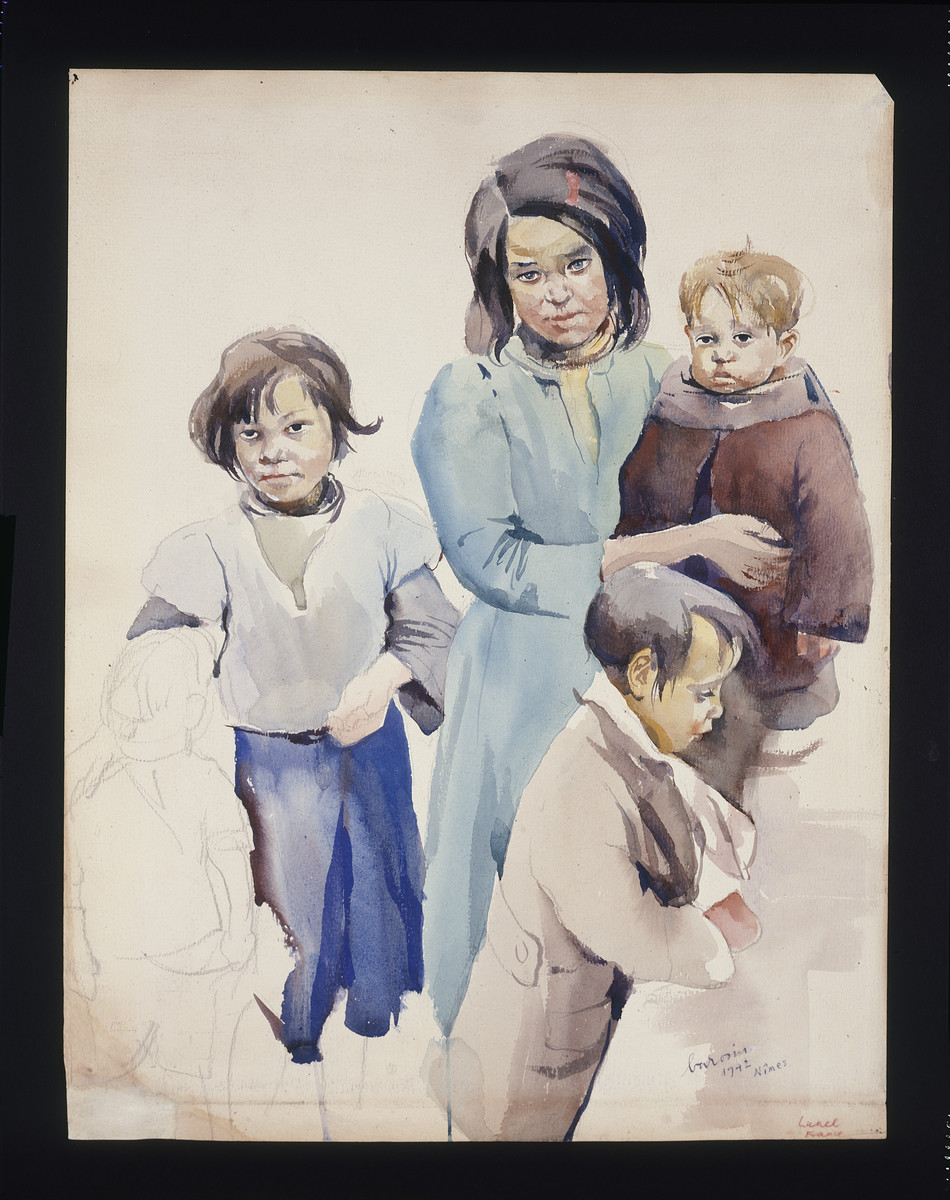 Painting by Jacob Barosin of a Roma woman and three children.