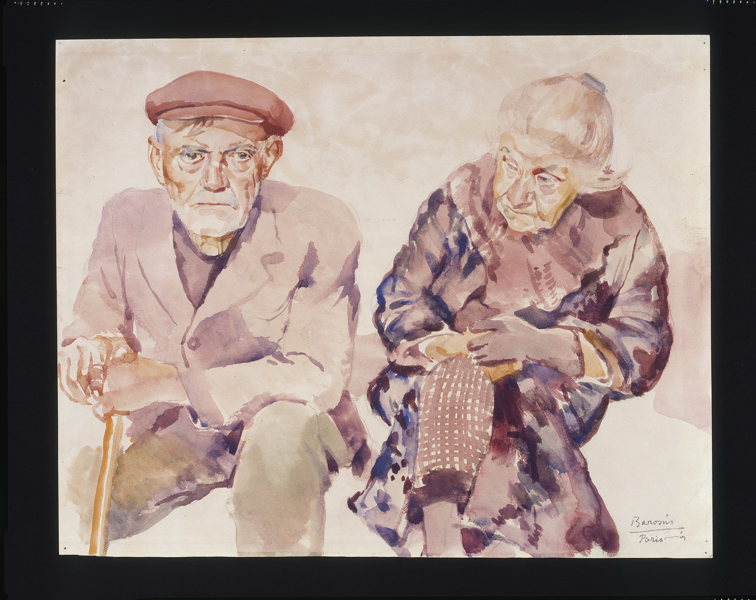 Painting by Jacob Barosin of an elderly couple.