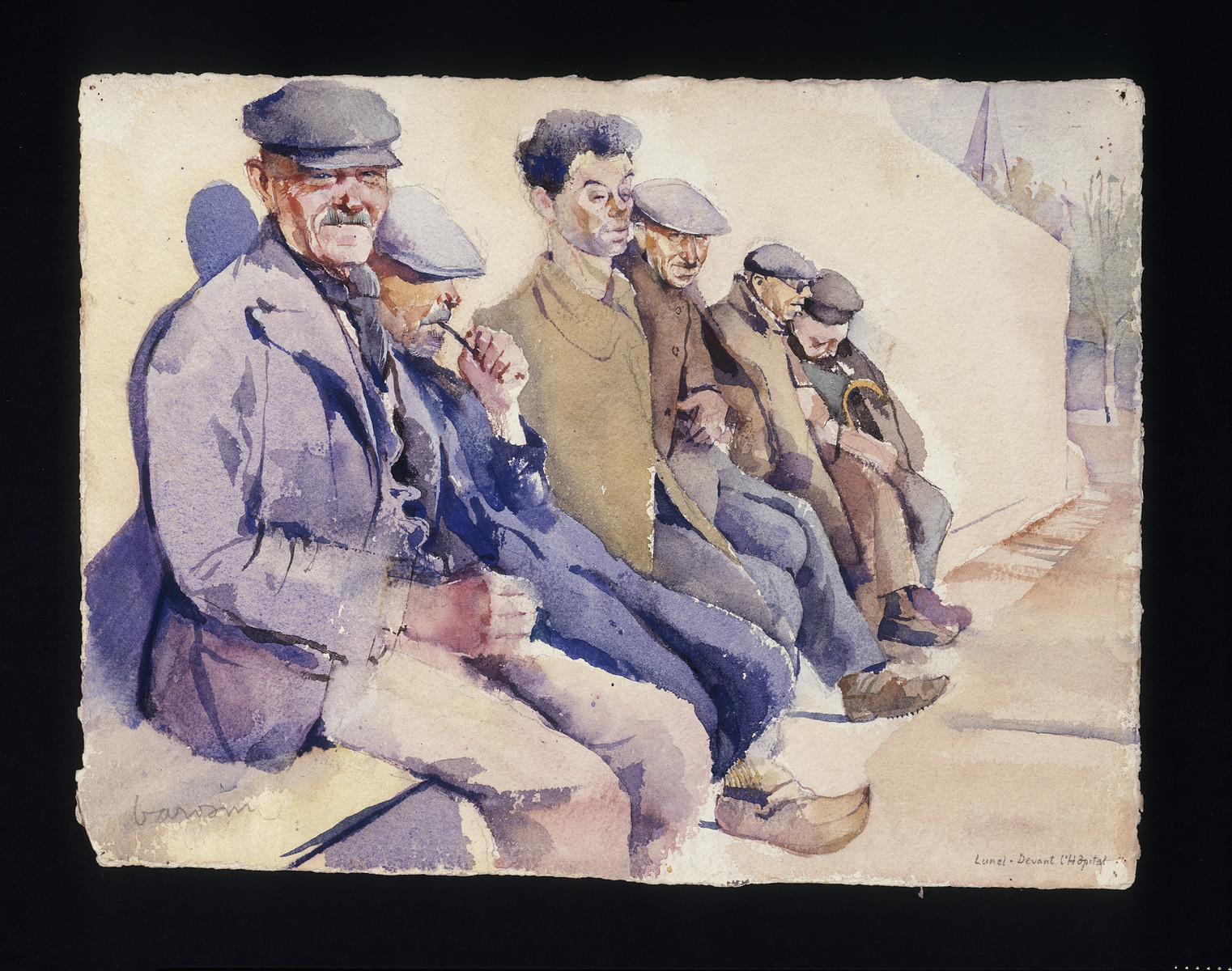 """Painting by Jacob Barosin of men sitting outside on a bench.  The painting is entitled """"In front of the hospital""""."""