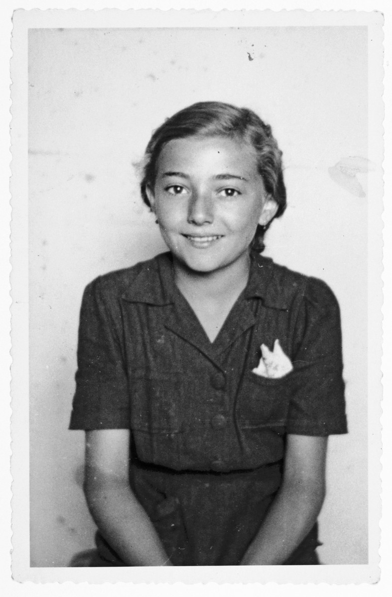Portrait of a young Jewish Croatian girl taken shortly after her family returned home from concentration camp and exile to Italy.  Pictured is Stanka Weinrebe.
