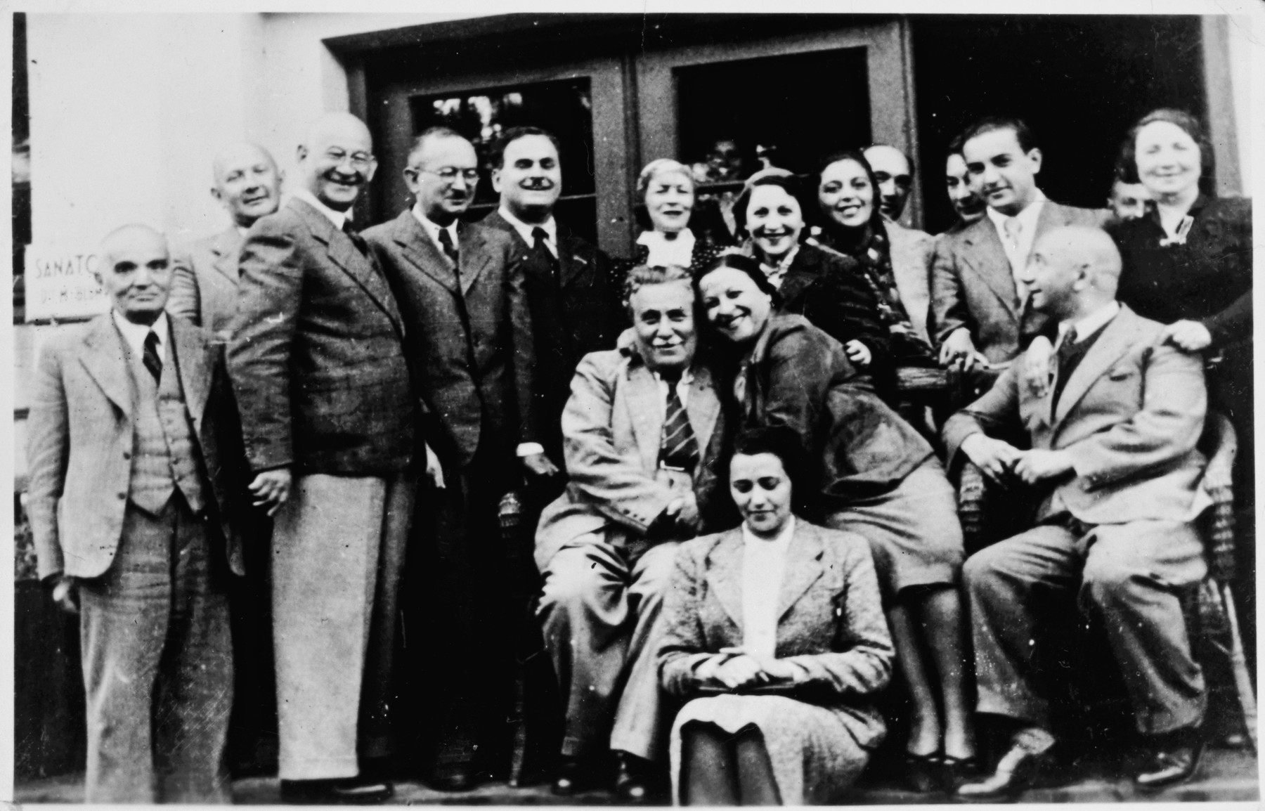 Group portrait at Sanatorium in Druskieniki.  Pictured are Estra Blumstien and friends at the Blumstein's family's hotel/sanatorium/spa.
