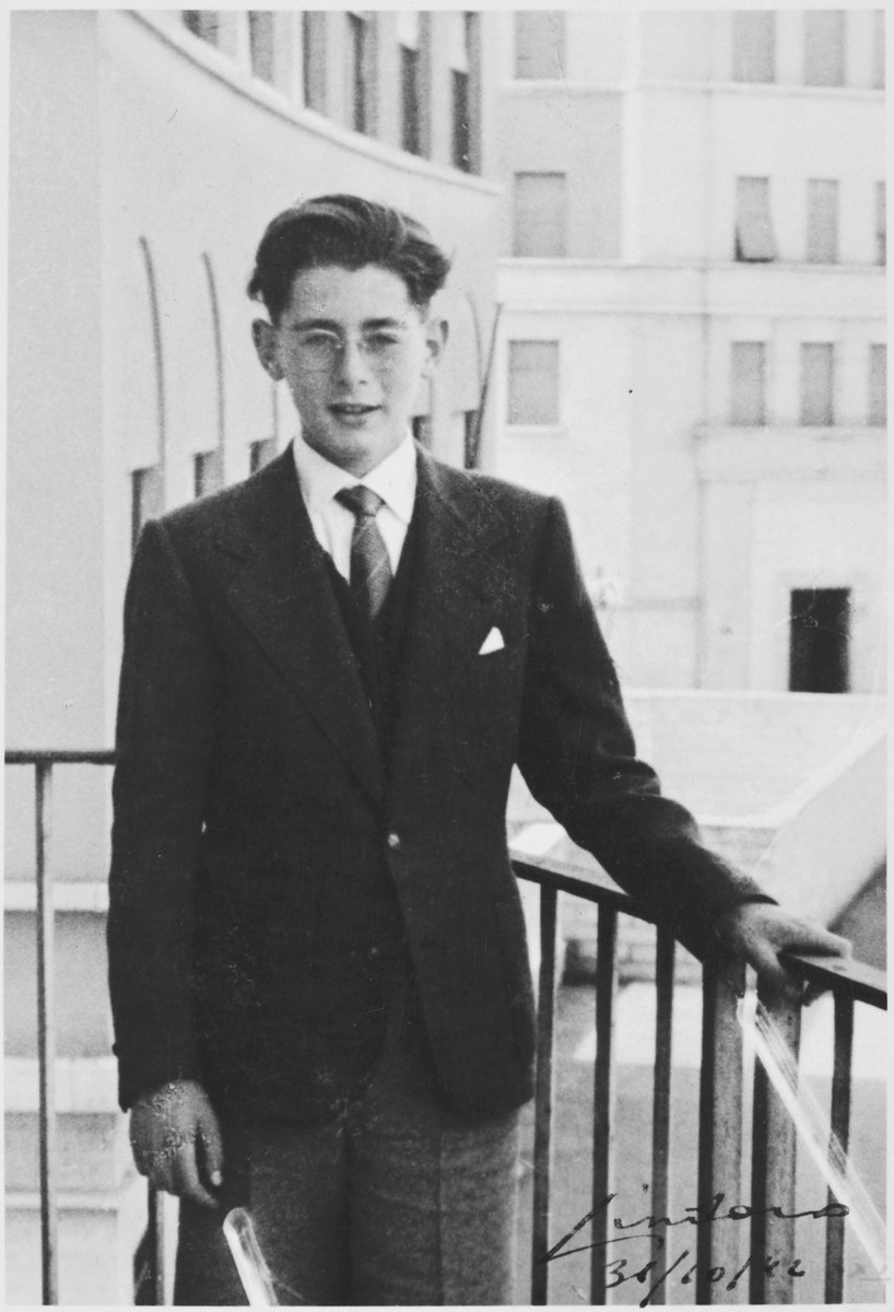 Sergio Minerbi poses outside his family's apartment in Via Ravenna 24 on the day of his bar mitzvah.