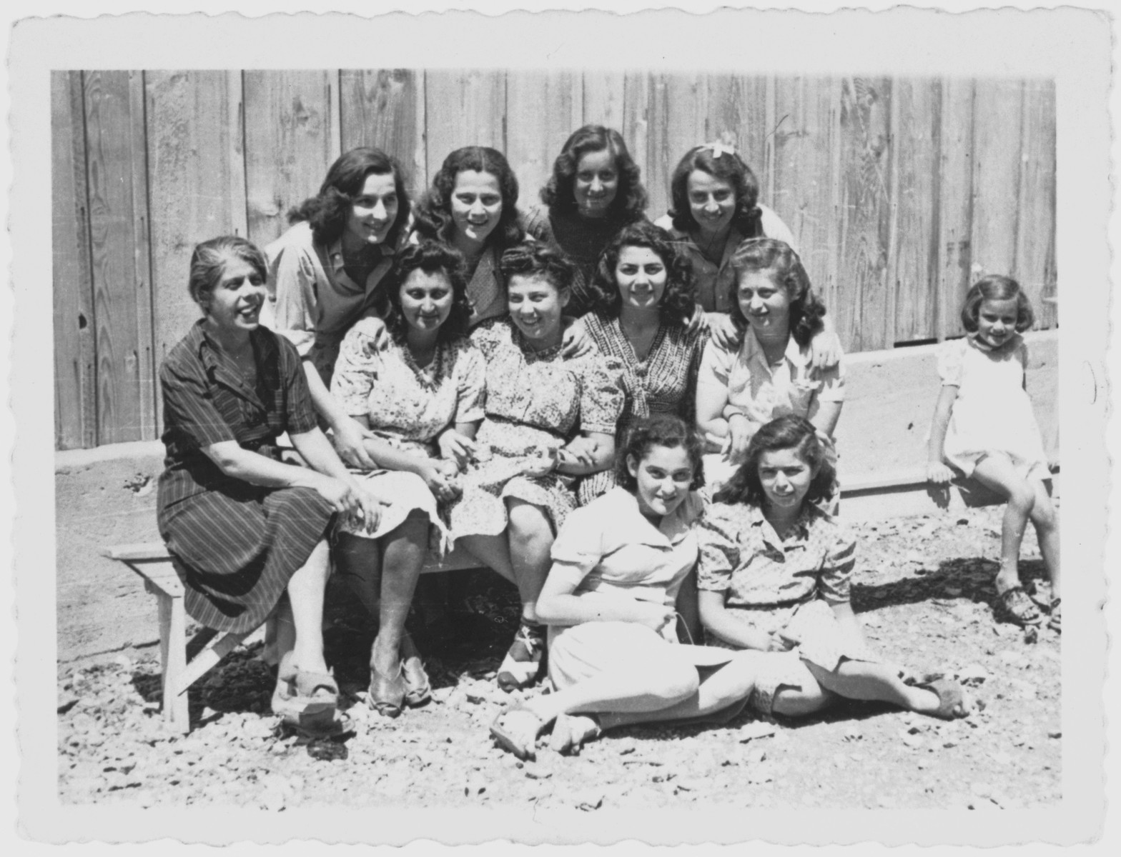 Group portrait of young female prisoners in the Kraljevica concentration camp.