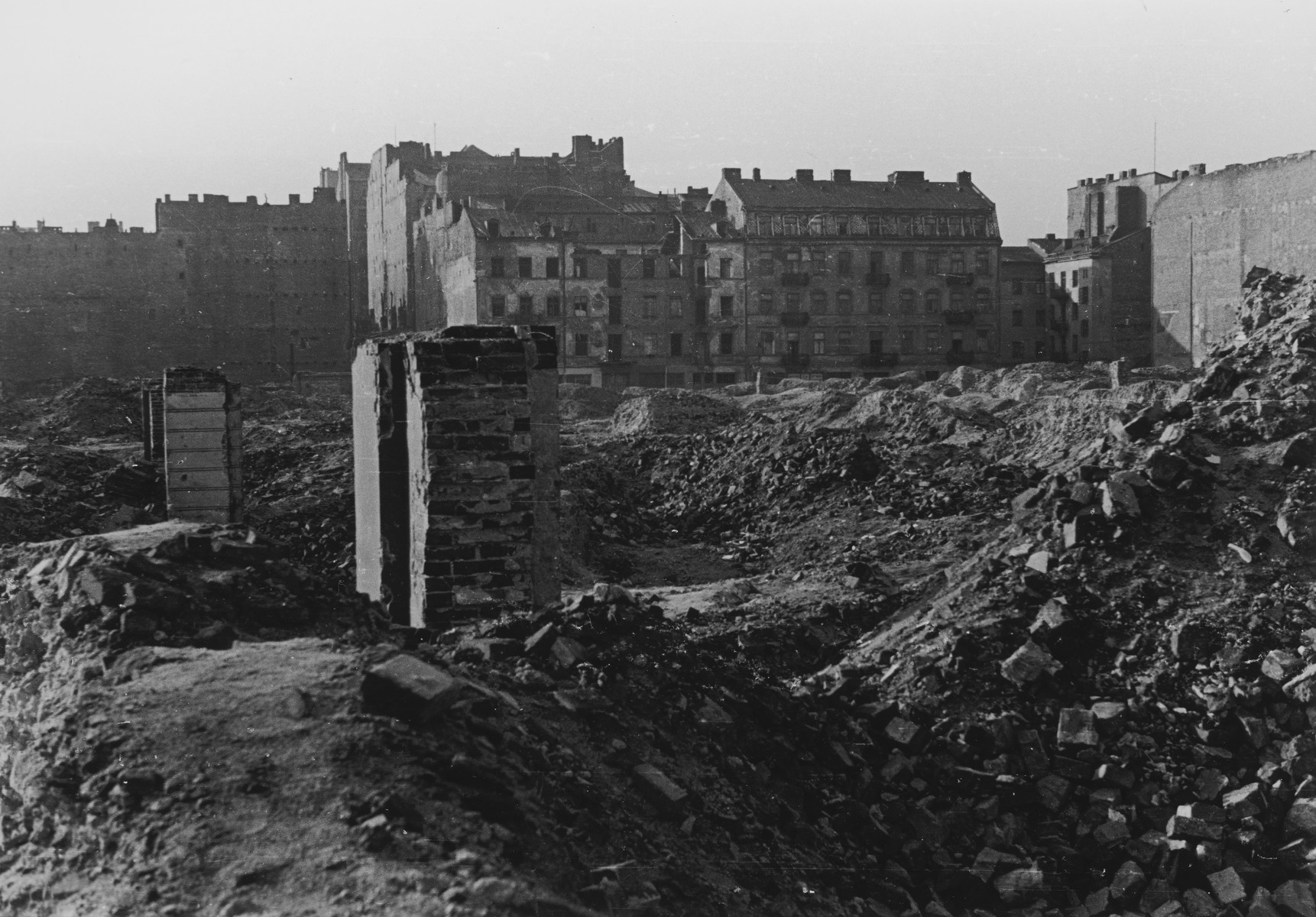 Clandestine photograph of the destroyed Warsaw ghetto.
