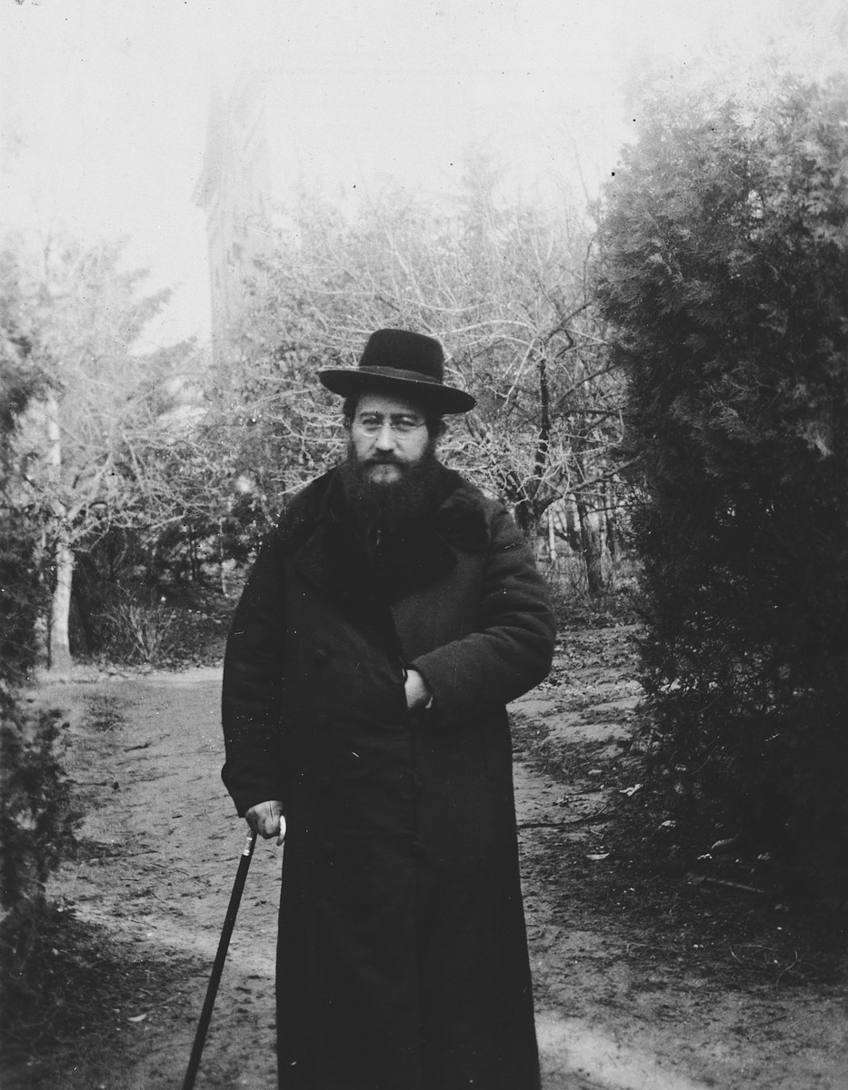 Rabbi Moshe Chaim Lau poses in the garden of his home in Presov.