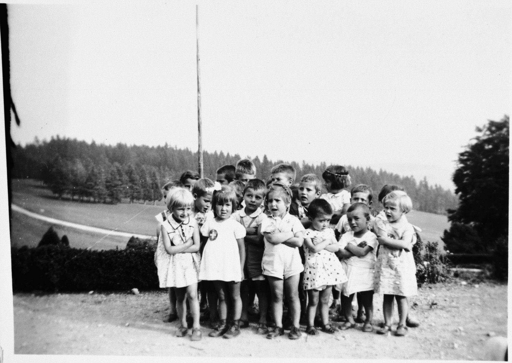 Group portrait of the youngest children in the Chateau des Avenieres children's home in Cruseiles.
