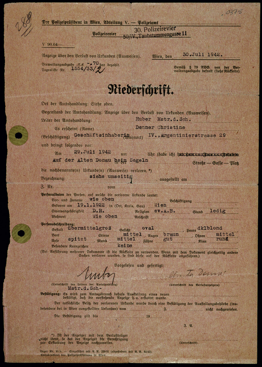 Duplicate copy of Christine Denner's birth records issued in July 1942 and given to her Jewish friend Edith Hahn as false identification.