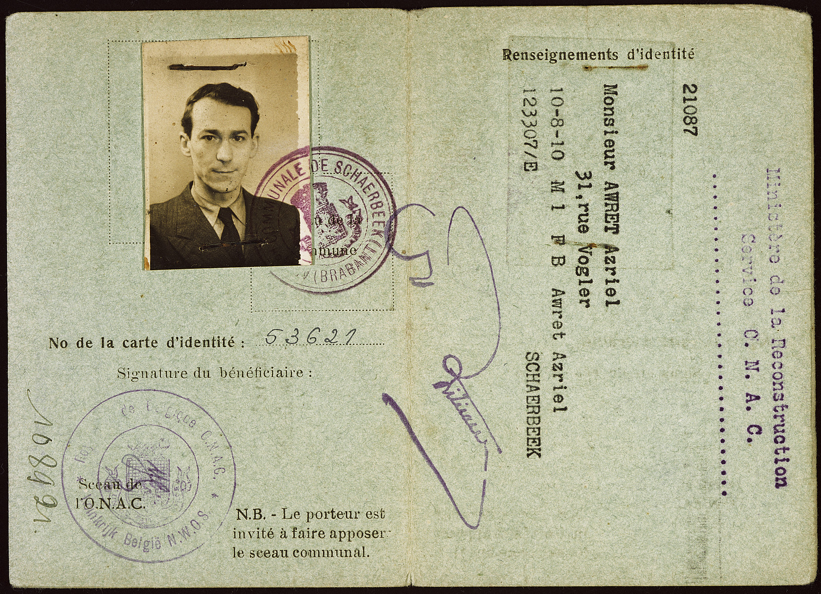 Identification card issued to Azriel Awret stating that he had been incarcerated as a political prisoner by the Germans.