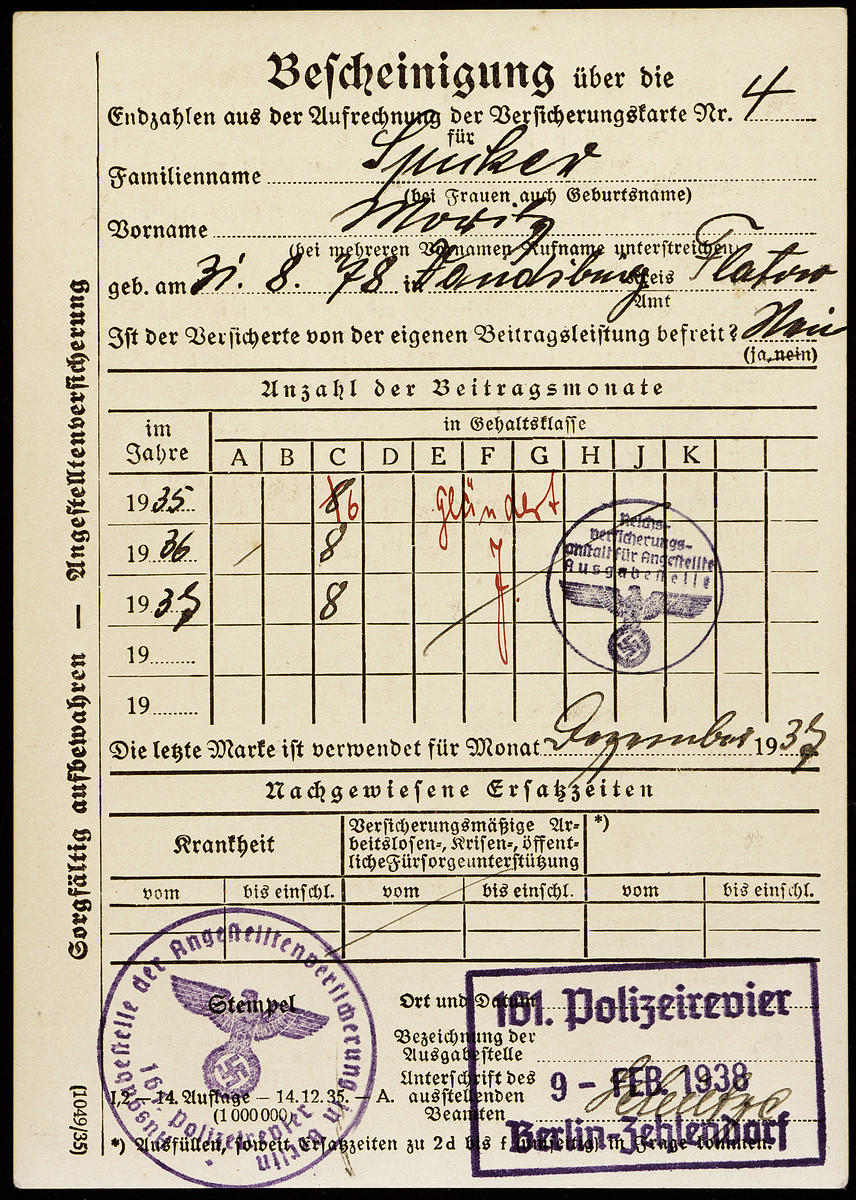 Insurance card issued to Moritz Spicker and stamped by the Berlin police.