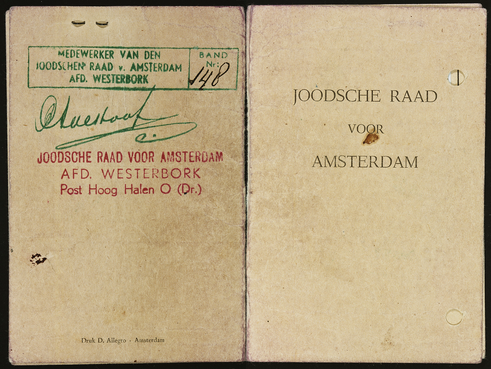 A Joodsche Raad (Jewish Council) identification card issued to Erich Zielenziger.