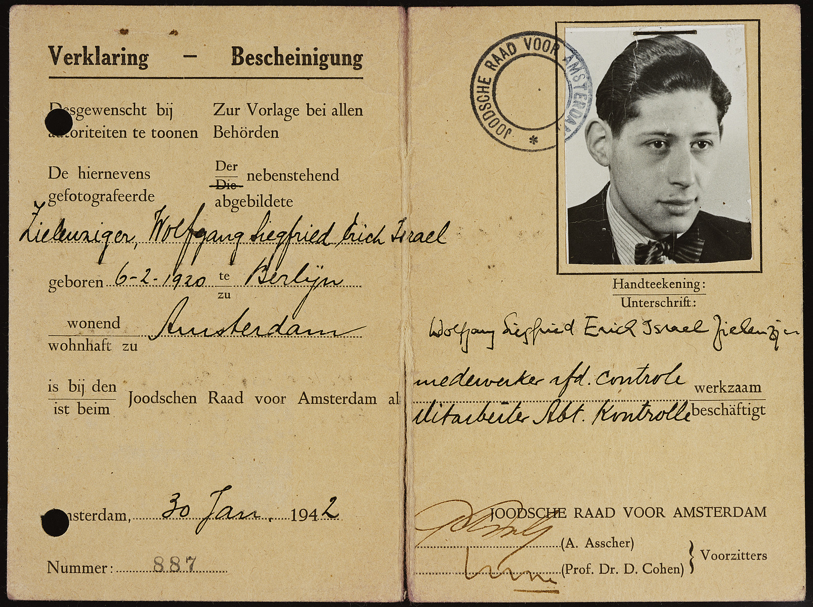 Interior pages of a Joodsche Raad (Jewish Council) identification card issued to Erich Zielenziger.
