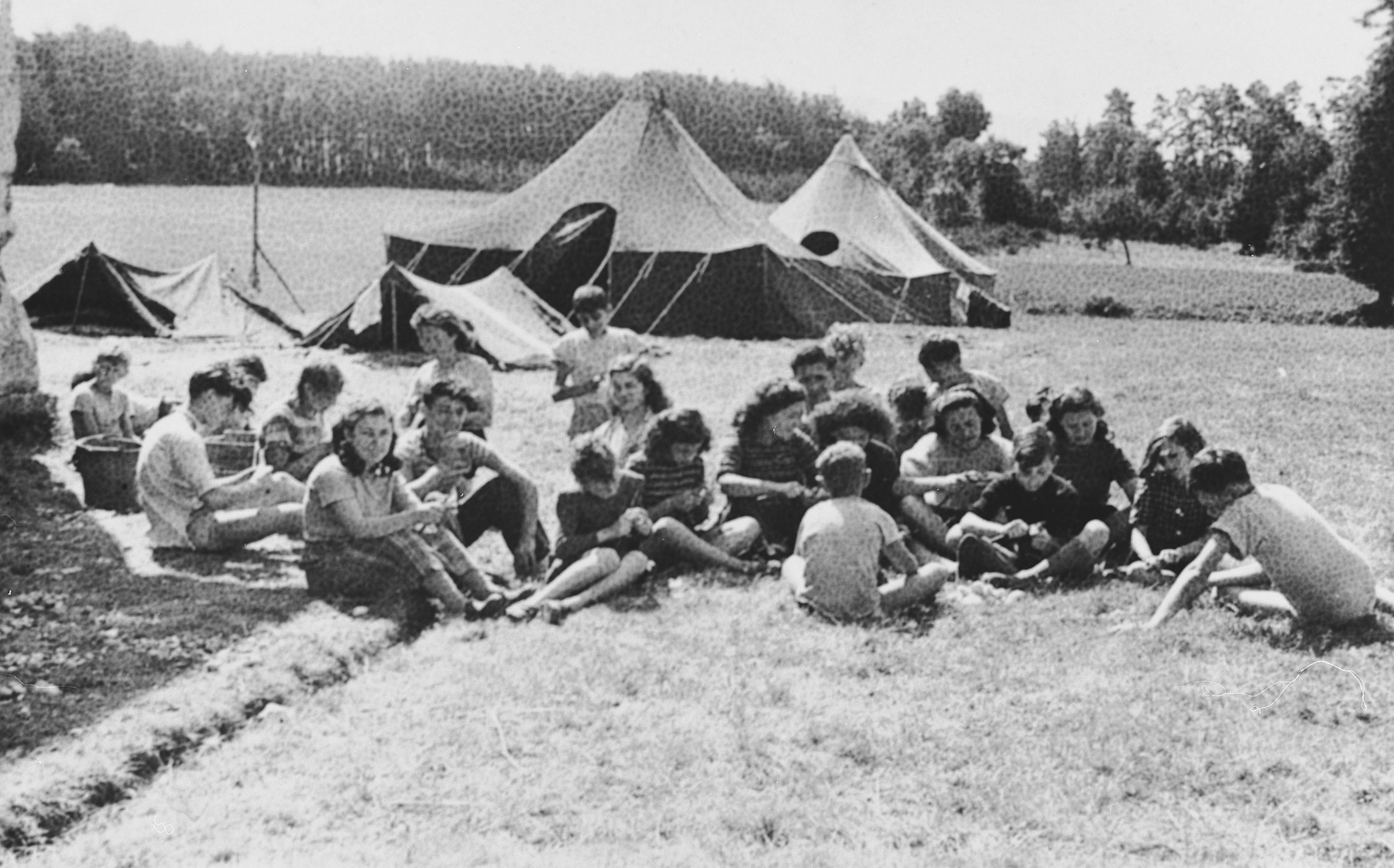 Jewish children go camping in Ambert on an excursion sponsored by the OSE.