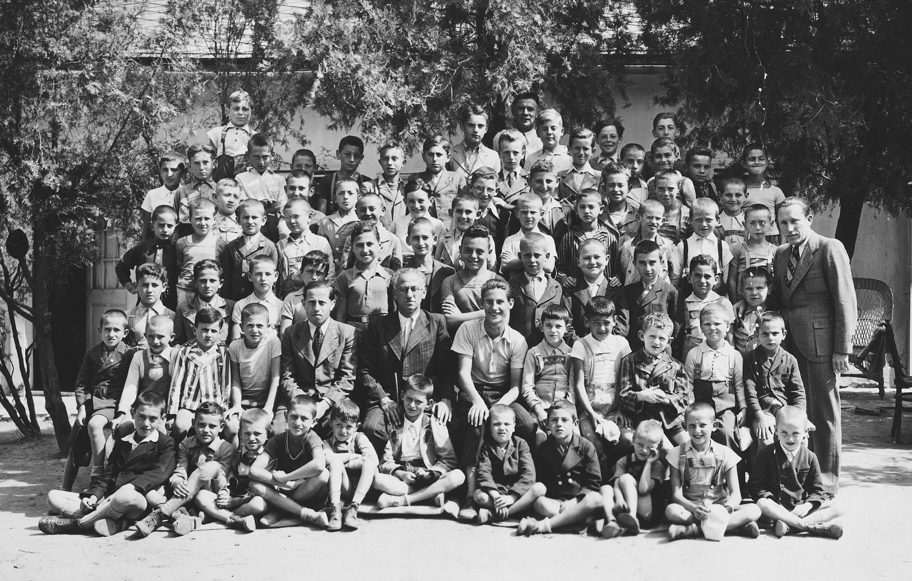 Group portrait of Jewish children in a summer camp in Balaton, Hungary.  Among those pictured is Ivan Pal.