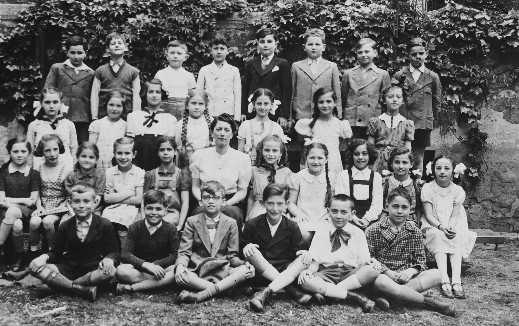 Group portrait of students in the fourth grade class of the Jewish elementary school in Budapest.